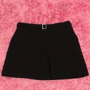 Belted Black Mini Skirt